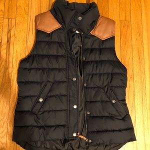 Navy and brown vegan leather puffer vest